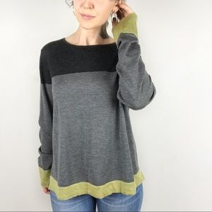 EILEEN FISHER Colorblock Merino Wool Sweater